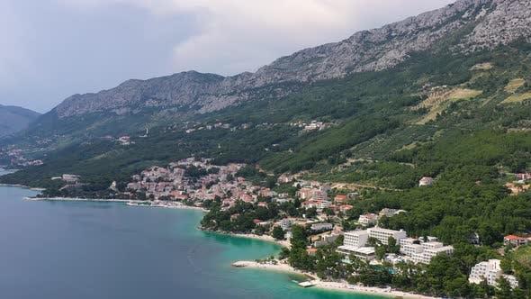 Thumbnail for Makarska riviera, Croatia. Aerial view on the town and sea.