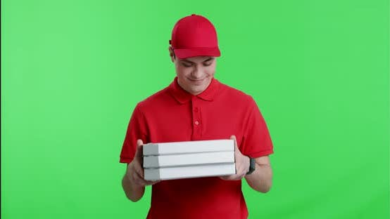 Courier Enjoying Tasty Smell of Pizza Order