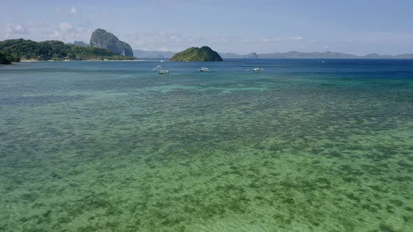 Thumbnail for El Nido, Palawan Island, Philippines, Aerial Drone View of Boats Anchored in the Bay