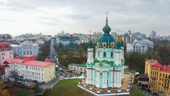 Aerial View of Saint Andrews Church in Kiev. The Famous Andrew's Descent in the Capital of Ukraine