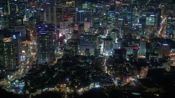 Thumbnail for Timelapse Large Seoul Metropolis Flashing Lights at Night