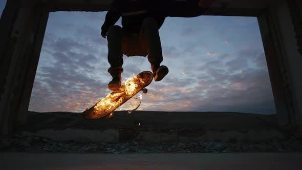 Thumbnail for Doing tricks on a burning skateboard