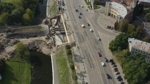 City Bridge Under Construction over River Neman, Kaunas, Lithuania