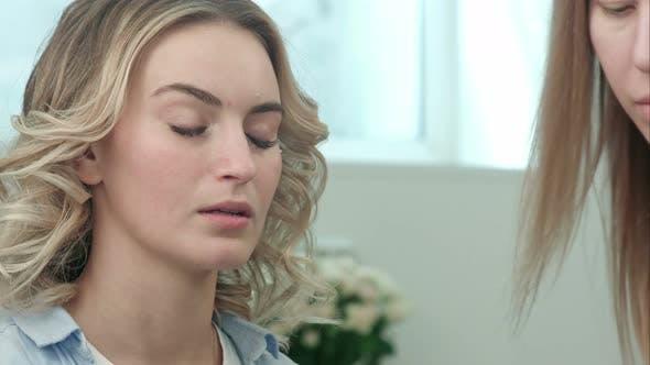 Thumbnail for Professional Make-up Artist Applying Cream Base Eyeshadow Primer To Model Eye