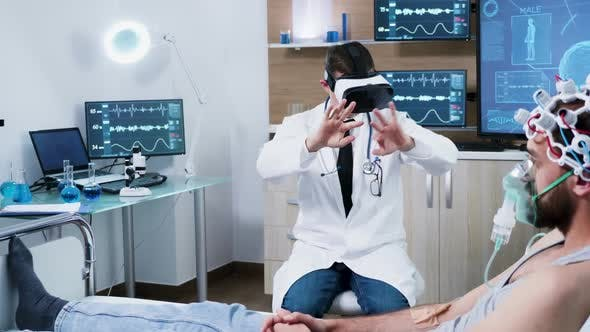 Doctor in a Modern Centre for Brain Analysis Using Vr Headset