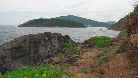Thumbnail for Sea Bay, the Strait Between the Islands. Seascape with Rocky Shore
