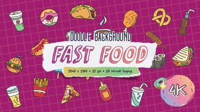 Doodle Background - Fast Food