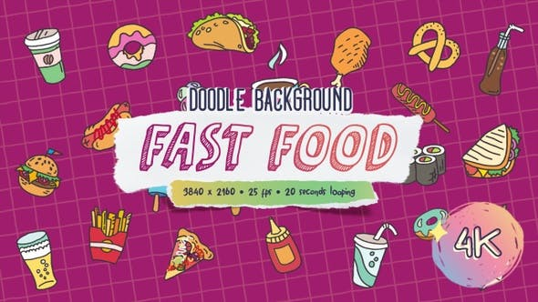 Thumbnail for Doodle Background - Fast Food