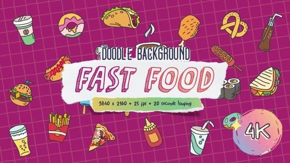 Doodle Background - Fast Food