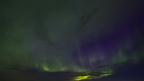 Thumbnail for Northern Light, Aurora Borealis at Night Sky. Timelapse