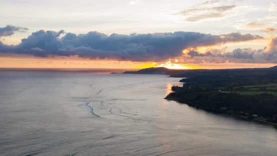 Thumbnail for Sunrise Princeville Coastline Beaches Kauai Hawaii Aerial View Hyperlapse Time Lapse