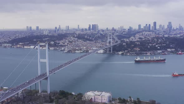 Thumbnail for Istanbul Bosphorus Bridge Traffic And Cargo Ships Aerial View