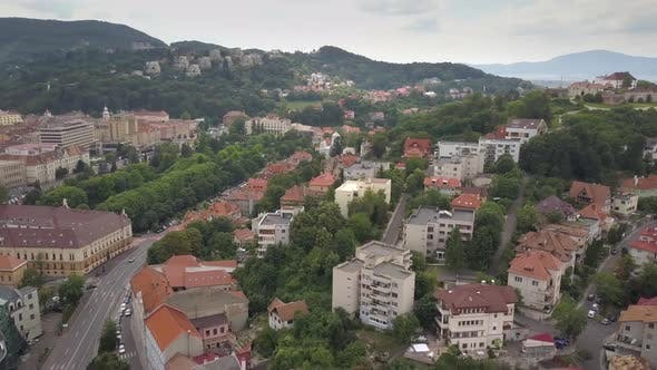 Aerial view of Brasov city, medieval town situated in Transylvania, Romania. Old architecture