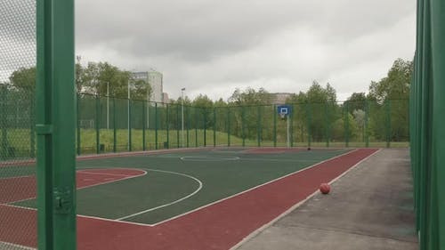 Outdoor Basketball Court with No People