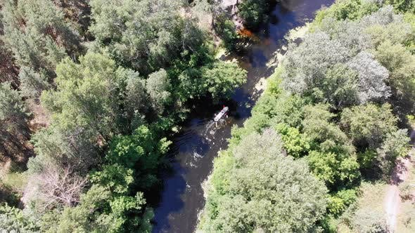 Thumbnail for Kayaking and Canoeing Along the Riverbed Aerial View. Rafting. Tracking a Boat