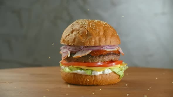 Thumbnail for White Sesame Seed Falling Into Bun in Slow Motion, Bun with Sesame for Making Hamburger