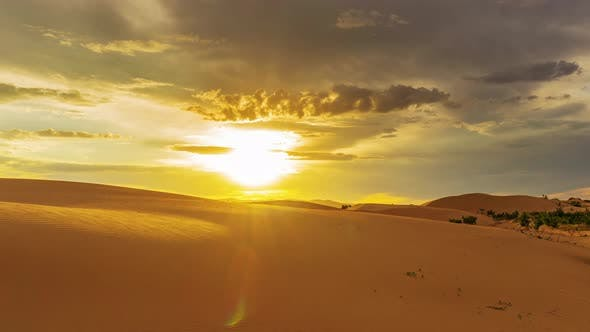 Thumbnail for Beatiful Landscape in Desert at Sunset, Timelapse