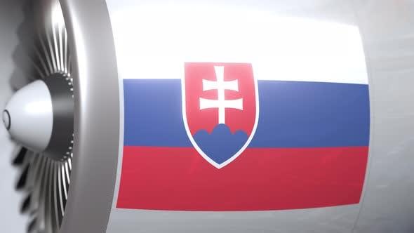 Thumbnail for Flagge der Slowakei auf dem Flugzeug-Turbinmotor