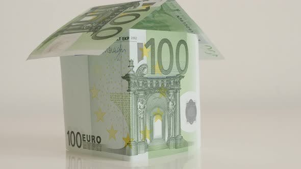 Thumbnail for Building or house made with European paper currency 4K 2160p 30fps UltraHD footage - Close-up real e