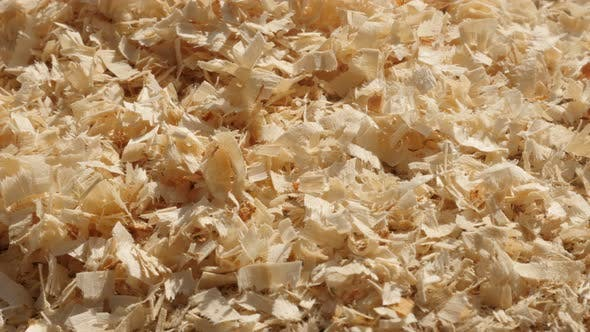 Thumbnail for Slow pan over heap of wooden sawdust on the ground  4K 2160p 30fps UltraHD footage - Pile of wood cu