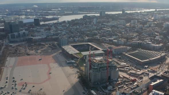 Luftaufnahme des Hamburger Millerntor-Fußballstadions Heimat des FC St.
