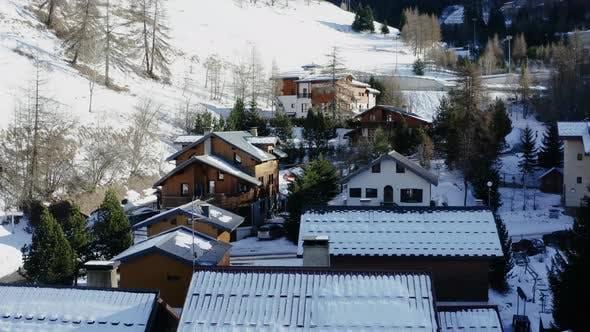 Vue aérienne de La Plagne dans les Alpes françaises en France