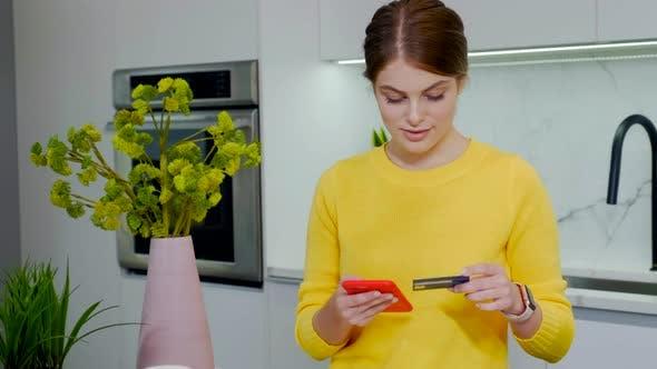 Thumbnail for Beautiful Blonde Woman Doing Shopping Online