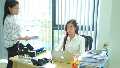 Girl At Office Boss.workin on office Business Woman Working Hard Work in Office