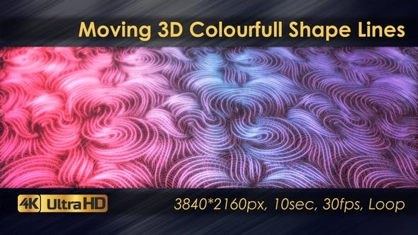Moving 3D Colourfull  Shape Lines Animation