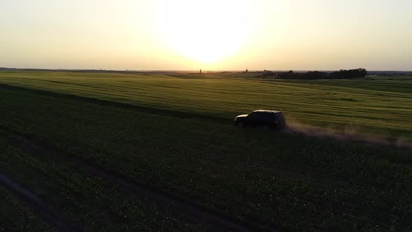 Thumbnail for Car Off-roading on Lanes at Summer Sunset