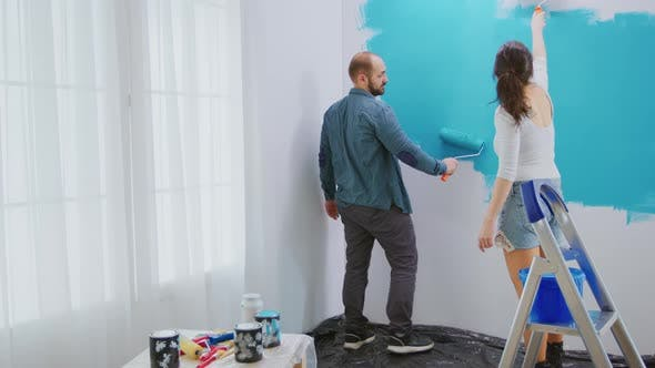 Giving the Wall a Makeover with Blue Paint