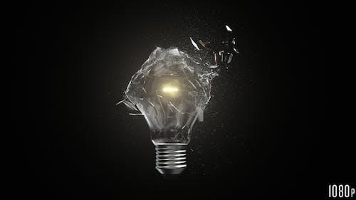 Isolated Lightbulb Shattered