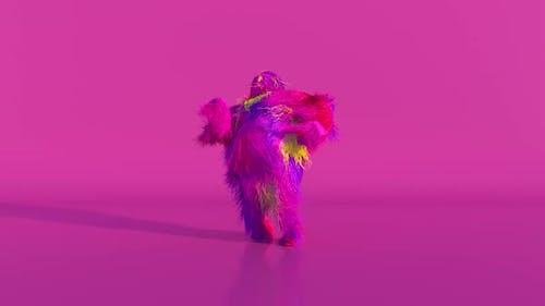 Fröhliche bunte haarige Cartoon-Tanz-Charakter Pelzig Tier Spaß Pelzigen Maskottchen-Animation