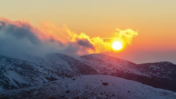 Thumbnail for Colorful Light of Sunset Evening Over Winter Alpine Mountains