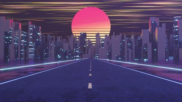 Urban road and sunset sky,abstract conception.