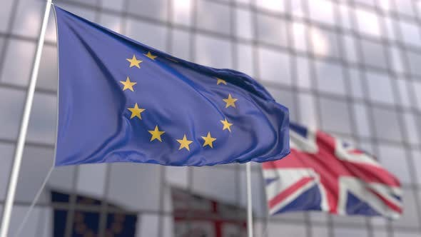 Waving Flags of the European Union EU and the UK