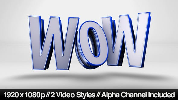 Thumbnail for Playful WOW Text Animating On - 2 Styles