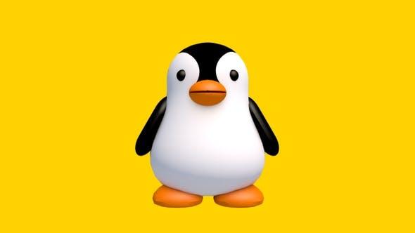 Pingouin 3D 360 degrés Spin — Bouclée