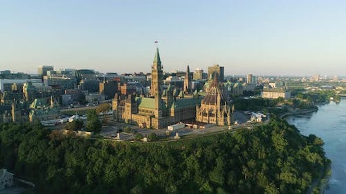 Aerial of the Parliament of Canada, in Ottawa