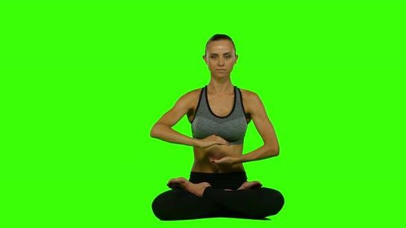 Thumbnail for Meditation Woman Sitting Lotus Pose, Green Screen