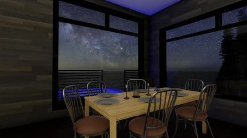 Kitchen And Dining Set On Sea View