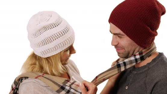 Thumbnail for Hipster couple being affectionate on white