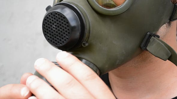 Thumbnail for Man Mount Air Filter on Gas Mask