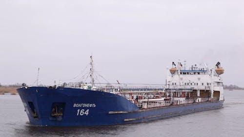 Oil Tanker Sails On The Volga River