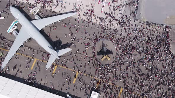 Thumbnail for Aviation Festival Field With Crowd And Old Military Aircrafts And Special Fighter Jet 2