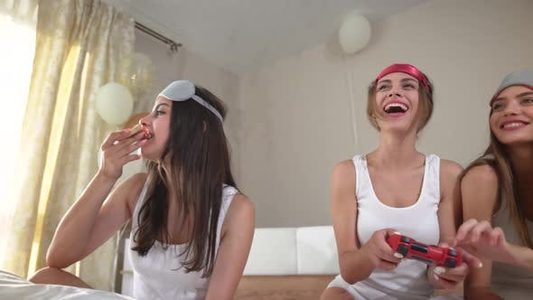 Thumbnail for Smiling Women Playing with Video Game with Joystick.