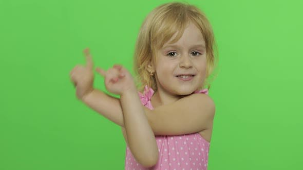 Thumbnail for Pretty Child Emotionally Makes Faces and Smile in Pink Swimsuit, Chroma Key