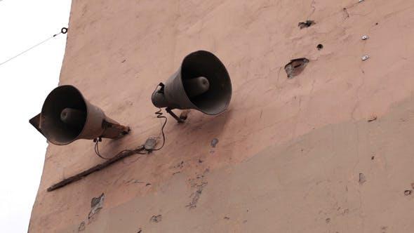 Loudspeaker On The Wall In Saint-Petersburg