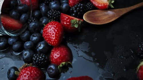 Cooking Raspberry and Blueberry Berry Jam