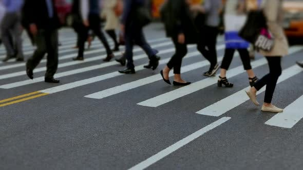 Thumbnail for People Crossing City Street